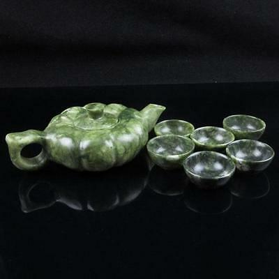 Antique  china Green Jade Dragon hand-carved teapot teacup