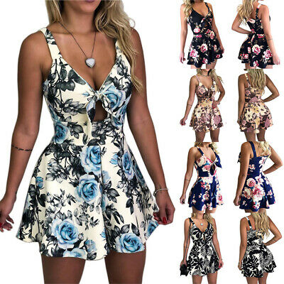Women Boho Floral Strappy Romper Clubwear Holiday Mini Playsuit Beach Shorts