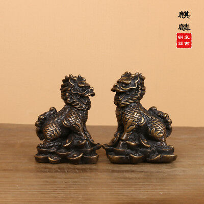 Chinese old collection handwork copper a pair of kylin statue