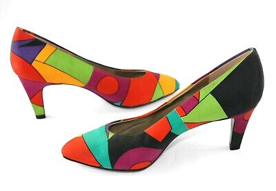 Vintage Connie Multi-Color Stained Glass Pattern Pumps Heels Sz 6 AA, UNWORN