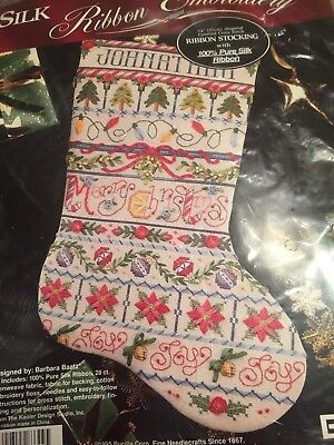 Bucilla Christmas Stocking Kit Silk Ribbon Embroidery Barbara Baatz Design 1995