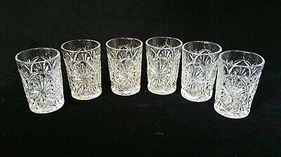 """Six (6) Anchor Hocking Medallion """"Star and Cameo"""" Pressed Glass Juice Glasses"""