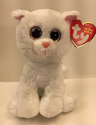 """Ty Beanie Baby Babies Bianca the White Cat 6"""" (Big Eyed Version) 2012"""