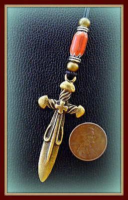 """ANTIQUE Medieval Byzantine Style CROSS Pendant Necklace Jewelry-""""Steampunk"""" Look"""