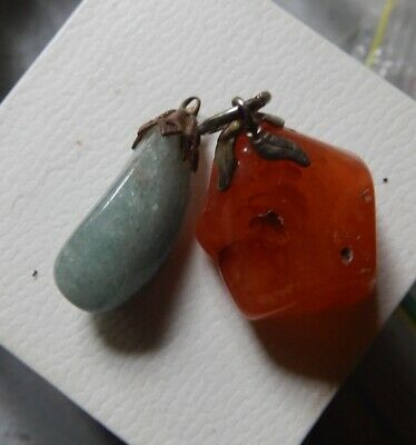 Vintage Pendant Lot (2) Aust Lapidary Agate/Green stone -Estate -2 Post FREE