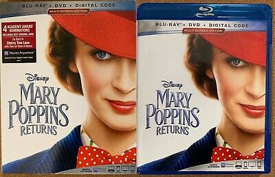Disney Mary Poppins Returns Blu Ray Dvd 2 Disc Set + Slipcover Sleeve Free Ship