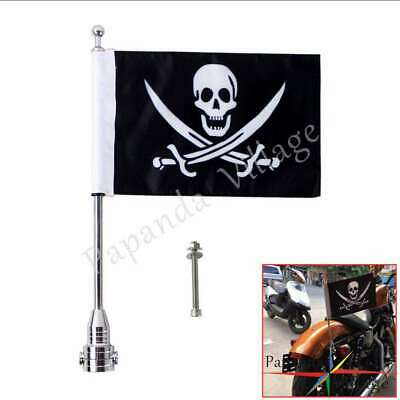 Custom Motorcycle Silver Rear Side Mount Flag Pole with Skull Flag For Harley