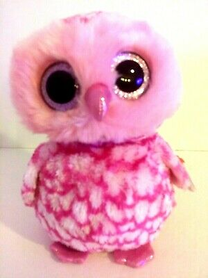 "50ba494524f Ty Beanie Boo Large Pinky Owl NEW 9"" 2014 Pink Sparkly eyes and beak"