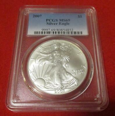 2007 PCGS MS 69 Silver Eagle. ASE. Blast White                           MF-216