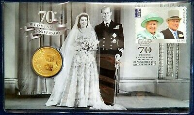 2017 $1 70th Royal Wedding Anniversary Stamp & Coin PNC Perth Mint