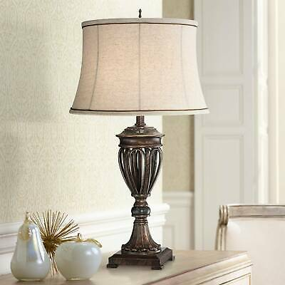 TRADITIONAL TABLE LAMP Bronze Open Urn Tan Fabric Shade for ...