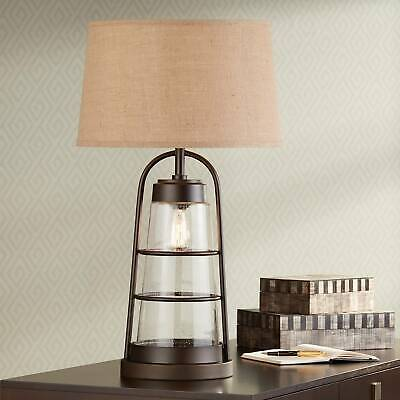 Industrial Table Lamp With Nightlight Bronze Cage Edison Bulb For Living  Room
