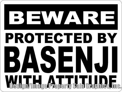 Beware Protected by Basenji w/Attitude Sign. Size Options. Dog Lovers Gift