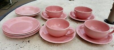 Vernon Kilns Casual California Vernonware Pink Dishes lot of 14 Cups Saucers +