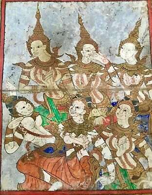Thai Painting Buddhist Manuscript Ten Lives of Buddha Ayudthya Period