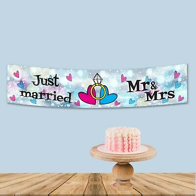 Personalised  Wedding  Just Married Fabric Party Banner Decoration Customised