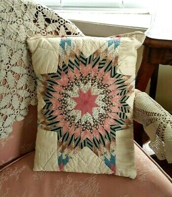 """Antique Star Quilt Pillow11x15""""Hand Made Pink Blue Brown Primitive Early Fabrics"""