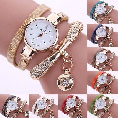 Fashion Women Ladies PU Leather Rhinestone Analog Quartz Wrist Watches New Watch
