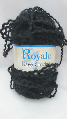 1 Skein Royale Rave Crochet Polyester / Nylon Yarn - Black