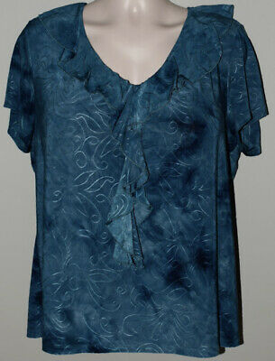 CATO WOMAN Top blouse shirt Womens plus Size 2X 18/20w tunic turquoise blue