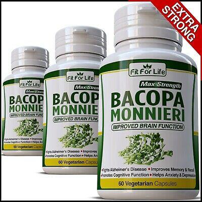Bacopa Monnieri Improved Cognitive Brain Function Capsules Memory Brahmi Adhd