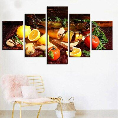 Kitchen Fish Fruit Spices 5 Pcs Canvas Wall Room Paint Home Decorating Poster