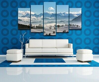 Snow Mountain Natural Landscape 5 Pcs Canvas Wall Room Home Decorating Poster