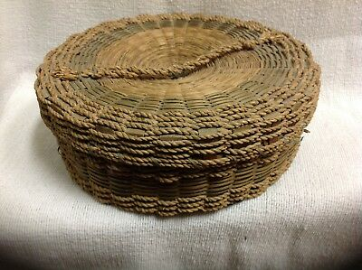 Antique Asian straw woven sewing basket unique