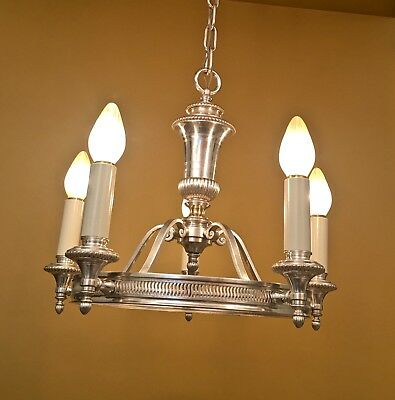 Vintage Lighting 1920s silver chandelier Colonial Revival rewired