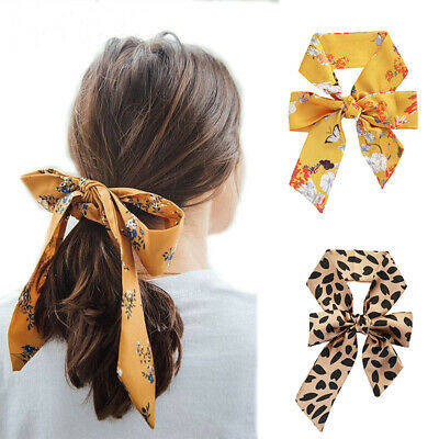 Women's Bow Scrunchies Hair Scarf Rope Ponytail Holder Hair Tie Ribbon Hair Band