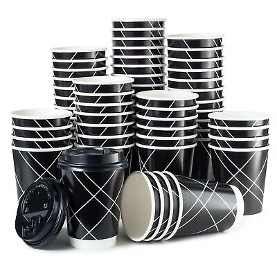 100 Pack Premium Disposable Paper Hot Coffee Cups with Lids- USA SELLER