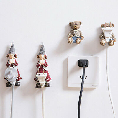 Creative Cartoon Plug Hanger Key Coat Hat Wall Mounted Adhesive Holder Hook B