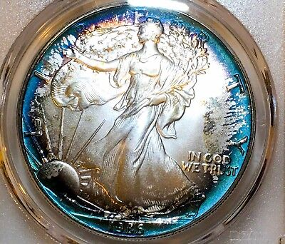 1986 American Silver Eagle PCGS MS68 Vibrant Blue Halo Toned 🌈 2 Sided Toning