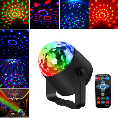 Sound Active RGB LED Stage Light Crystal Ball Disco Ball Club DJ Party W/ Remote