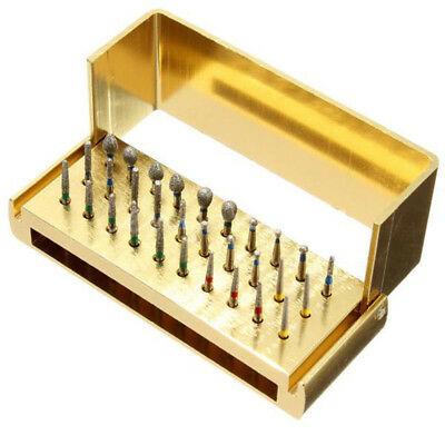 New 30x Dental Diamond Burs Drill + Disinfection Block For High Speed Handpieces