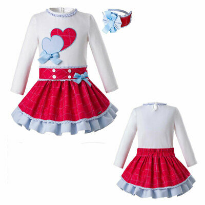Girls School Clothing Set Long Sleeve T-shirt+Skirt Birthday Party Outfits 2-8Y