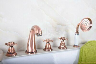 Antique Copper Widespread Tub Faucet 5 Holes Sink Mixer Tap Hand Shower Spray