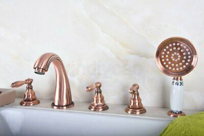 Antique Copper Bathtub Faucet 5 Hole Hot and Colder Water Crane with Hand Shower