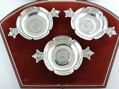 Trio 1936 ROYAL COMMEMORATIVE Cased R E STONE SILVER DISHES London 1936 Art Deco
