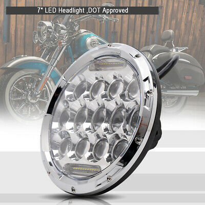 "New 7"" inch LED Projector Round Front Chrome Headlight for Harley Touring Models"