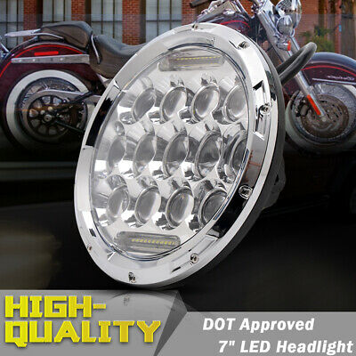 "7""INCH MOTORCYCLE CHROME PROJECTOR HID LED LIGHT BULB HEADLIGHT FIT Harley Chro"