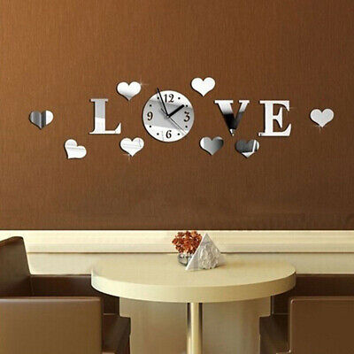 Perfect Wall clock Silver 14.9cm Acrylic Mirror DIY Home Living Room Decoration