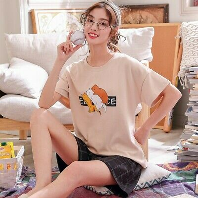 Women Sleepwear Cute Cartoon Print Pajama Sets Soft Short Sleeve Loungewear Pjs