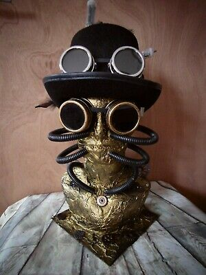 Custom MALE Steampunk Hat Display Jewellery Mannequin Head Gold Goggles  (1.1)