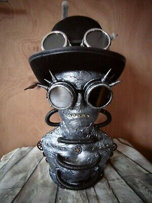 Custom MALE Steampunk Hat Display Jewellery Mannequin Head Silver Goggles  (1)