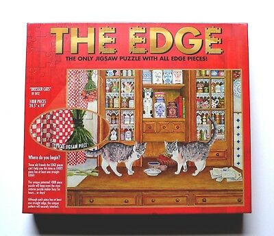 Challenging Jigsaw Puzzle - The Edge - Dresser Cats - Ditz - 1008 pieces