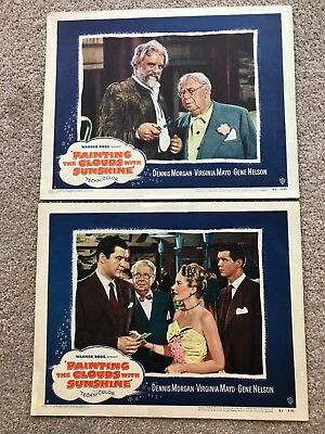 2 ORIGINAL LOBBY CARDS 11x14: Painting the Clouds with Sunshine (1951)