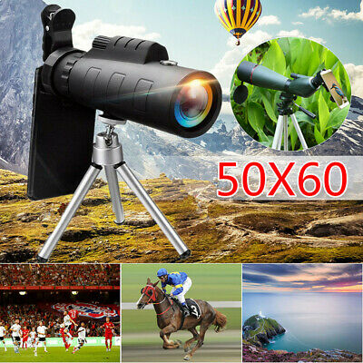 50X60 Zoom Optical HD Lens Monocular Telescope  +Tripod & Clip for Phones