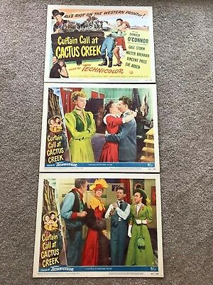 3 ORIGINAL LOBBY CARDS 11x14: Curtain Call at Cactus Creek (1950) Eve Arden