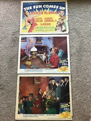 3 ORIGINAL LOBBY CARDS 11x14: The Sun Comes Up (1949) Jeanette MacDonald